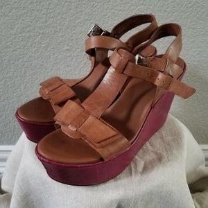 KORK-EASE 2-Tone Leather Wedge Sandal